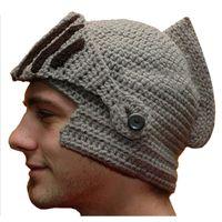 Wholesale Roman Knight Helmet Caps Cool Handmade Knit Ski Warm Winter Hats Men Women s Gift Funny Party Ski Mask Beanies