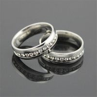 Wholesale Stainless steel Mixed Color Men s Women Rings Gold silver mm with single full diamond Gold plated JE10