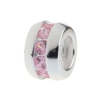 Wholesale Sterling Silver Charm Spacer Beads with Pink Crystal Stones European Style Fit Snake Chains Bracelet DIY