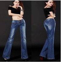 low rise jeans - Fashion Flare Jeans Women Low Rise Bootcut Washed Soft Denim Scratched Emboridery VintageNEW Brand