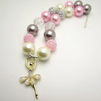ballet gifts - New Fashion White Ballet Gril Chunky Bubblegum Nice Beaded Pendant Bubble Necklace Children Kids Girls Jewelry Necklaces Pendants