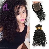 Wholesale Cheap Brazilian Deep Wave Hair With Closure bundles With Lace Closure Brazillian Virgin Hair Deep Wave With Closure