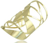 Wholesale fashion jewelry European statement wide Irregular gold color opening bracelet cuff Bangles