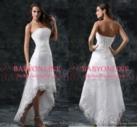 short strapless dress - 2016 Summer Beach Hi Lo Full Lace A Line Wedding Dresses Strapless Appliques Short Formal Lace up Back Vestidos Bridal Gowns CPS110