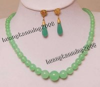Wholesale Exquisite Green Jade Gems Jewelry Necklace Earring17 quot