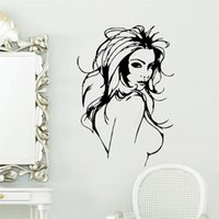 Wholesale Sexy Woman Wall Decal - SEXY NAKED WOMEN Salon Hair Beauty Wall Art Stickers Decal Home Decoration 8466 Wall Mural Removable room wallpaper