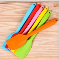 Wholesale Silicone Cake Batter Scraper Cake Cream Butter CM colourful FDA SGS Spatula Mixing Batter Scraper Brush Silicone Baking Tool HK09