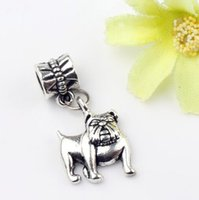 antique english jewelry - MIC x28mm Antique Silver English Bulldog Charm Metal Alloy Big Hole Beads Dangle Fit European Bracelets Jewelry DIY B108