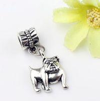 big bulldog - MIC x28mm Antique Silver English Bulldog Charm Metal Alloy Big Hole Beads Dangle Fit European Bracelets Jewelry DIY B108