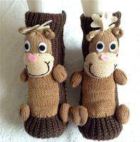 best winter socks men - Best Christmas D Cartoon winter warmer adult floor socks Elks moose deer Pig birds antiskid Woolen women men board stockings sock gifts