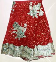 Wholesale yards pc hot sales red velvet African lace fabric with luxury gold flower design for fancy dress VL016