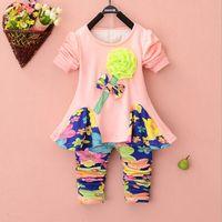 Girl big leggings - Spring autumn kids big flower dress leggings set pieces children long sleeve floral clothes suit cotton s l