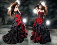 Wholesale Vintage Red Black Gothic Wedding Dresses Ruched Sweetheart Sleeveless Lace up A Line Court Train New Spring Ball Gown Bridal Gown