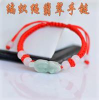 Wholesale Factory Cheap hand woven red string natal Myanmar jade brave troops Jade bracelet bracelet Valentine s Day Gift