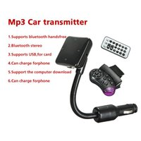 Wholesale Fashion Bluetooth Car Kit Auto FM Transmitter Modulator MP3 Stereo Radio Music Player USB SD MMC Steering Wheel Remote Control