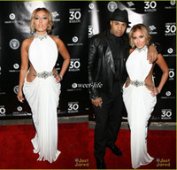 adrienne bailon - Stunning High Neck Crystal Beaded White Chiffon Adrienne Bailon Formal Celebrity Dresses Waist Cut Out Sexy Mermaid Prom Party Gowns