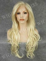 Wholesale 26 inch Front Lace Female Glamorous Charming Super Long Wave100 Kanekalon Fiber Synthetic Women Wig Hair g H3012FL8H