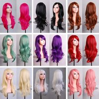 Wholesale New Fashion Women s Wigs Multi Color Curly Anime Cosplay Long curly hair air volume Party Costume cm Hair Wig