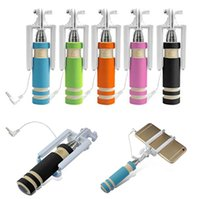 folding stick - Super Mini Wired Selfie Sticks Portable Extendable Folding Handheld Monopod Self Timer With Groove Audio Cable for iPhone Samsung cellphone