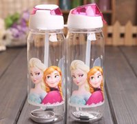Wholesale European and American populaBig discount Children Cup Cartoon Frozen Elsa Anna PP Texture Suction Cup with drinking straw water bottle