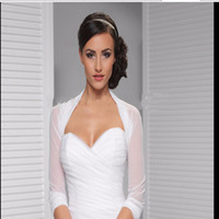Wholesale HOT sale Simple NEW Bridal Ivory White Tulle Bolero Shrug Wedding Jacket custom size wedding accessories