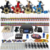 Cheap Newest Complete Tattoo Kit 4 Pro Rotary Machine Guns 54 Inks 5ML Power Supply Needle Grips TK458