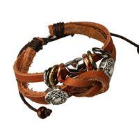 Wholesale New fashion shamballa leather bracelet women men beaded bracelets multilayer vintage charm bracelets