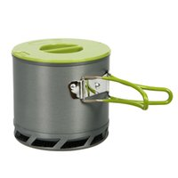 anodized aluminum pots - 1 L Portable Anodized Aluminum Outdoor Heat Collecting Exchanger Cooking Pot Camping Cookware for People Y0545