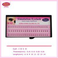 Wholesale 2015 Makeup fake Eyelashes mm C Curl silk eyelash extensions Individual Lashes Planting Black natural false eyelashes mm SC
