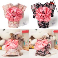 Wholesale pieces Puppy Dog Pet Hoodie Clothes Japanese Kimono Big Bowknot Flower Hiyoku Dogs Doggy Doggie Cats Hooded Apparel Pink Black