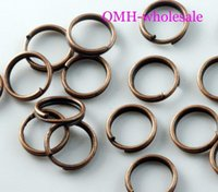 Wholesale Copper 8mm Jump - OMH wholesale 8mm 660pcs Jewelry accessories Finding DIY circle Red Copper Plated Open Metal split Rings DY49