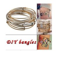 Wholesale 100pcs retro Alex bangle Ani iron mixed colors alex bangles wire loop alex bracelets Charm Bracelets Women adjustable Bangle