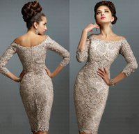 Wholesale Sexy Silver Wedding Gowns - Latest European Mother of Bride Dresses 2015 with Sexy Lace Off-Shoulder 3 4 Long Sleeve Elegant Knee-Length Beach Mother Gowns of Wedding