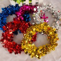 Wholesale Christmas decoration striped Christmas tree color bar Star rattan m party decoration ribbon for Festive Party