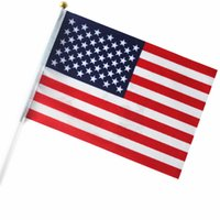 american flag poles - good quality American small National flags cm with white plastic poles used in desk top or national days