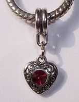 red heart charm - Hot Antiqued Silver Red Rhinestone July Birthstone Heart Dangle Bead for European Charm Bracelets mm x mm x mm