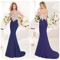 arabic ladies gown - High Neck Beaded Crystal Mermaid Satin Evening Dresses Arabic Dubai Tarik Ediz Formal Prom Party Gowns Ladies Women Wear