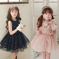 big star - 2015 Summer New Arrival Girls Dress Korean Style Dress with Big Knowbot and Blink Stars Lovely Princess Dress