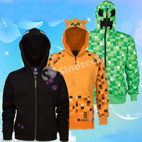 Wholesale Minecraft Creeper Hoodie Coats Ocelot Enderman Jacket XS XL Size Autumn Spring Sweatshirts For Big Boy Youth Adult Clothing DHL Factory