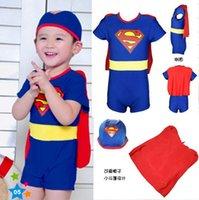 Boy bathing suit romper - 2016 Superman pc set Baby Swimwear Spring Kids swimsuit Boys Beach Swimsuit Swim Romper hat cape U pick size Sea bathing suit