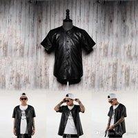 Wholesale 2015 Leather baseball jersey top men fashion leather shirt top Hip Hop Leather baseball men baseball t shirt jacket uniform black