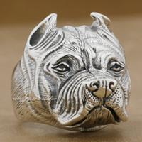 pit bull - Pitbull Pit Bull Dog Solid Sterling Silver Mens Ring E010