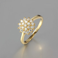 Wholesale Hot Sale Luxury Sparking Shiny High Grade AAA CZ Flower Wedding Rings for Women K Gold Plated Jewelry Engagement Ring ZR279