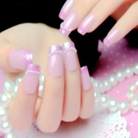 Cheap Wholesale-Purple pearl powder French nails, patch 24 pieces of glue fingernails on artificial stick Nail strips