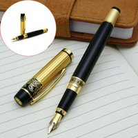 Wholesale Fashion Frosted Nib Steel Fountain Pen For Student Study Writing Gifts Decora Black Golden ZH024