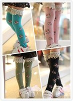 boot socks - New Girls Lace Stocks Knee Boot High Socks Tights Floral Lace Princess Cotton Hosiery Leggings Children Girls Socks