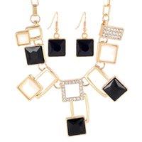 aqua mosaics - Elegant Black Geometric Mosaic Design Chokers Necklace Drop Earring Jewelry Set For Wedding
