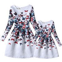 Wholesale 2016 New family costume for daughter and mother spring autumn european style girls and mother dresses floral family clothing
