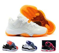 Wholesale GS BRED newest low men and women basketball shoes orange white color perfect quality retro XI low sport shoes