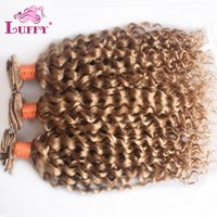 Wholesale Luffy Hair g Unprocessed Peruvian Clip In Human Hair Extensions Curly Natural Style Color Blonde Loose Curl Virgin Hair